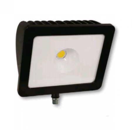 "Cree 74 Watt LED Wide Floodlight - 5000K 120V-277V 70 CRI 7400 Lumen Dark Bronze Fixture -Includes 1/2"" Adjustable Fitter (C-FL-A-RTF1-7L-50K-DB)"