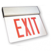 LED Double Faced Aluminum Mirror Edge Lit Exit Sign with Red Letters - Includes Backup Battery (ELXTEU2RMAEM)