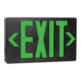 LED Double Faced Black Exit Sign with Green Letters - Battery Backup (EZXTEU2GB-EM)