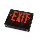 LED Double Faced Black Exit Sign with Red Letters - Remote Head Capable and Battery Backup (EZXTEU2RBEM-RC)