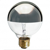 Satco 25 Watt G25 Incandescent 120V Medium (E26) Base Dimmable Clear with Silver Bowl Globe Bulb (25G25/SL)