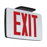 LED Double Faced Thin Die-Cast Aluminum Exit Sign with Red Letters - Battery Backup (KZXTEU2RAEM)