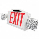 LED Double Faced White Exit/Emergency Combo with Red Letters - LED Lamp Heads and Battery Backup (LEDCXTEU2RW)