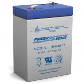 Power-Sonic 6V 4.5Ah Backup Battery for Emergency/Exit Fixtures (PS-640)