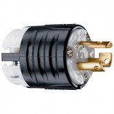 Pass and Seymour Locking Plug Black Back White Front Body 15 Amp 125V 2 Pole 3 Wire (PSL515P)