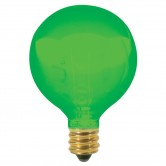 Satco 10 watt G12 1/2 Incandescent; Transparent Green; 1500 Average rated hours; Candelabra base; 120 volts (10G12 1/2/G)