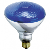 Satco 100 watt BR38 Incandescent; Blue; 2000 Average rated hours; Medium base; 120 volts (100BR38/B)