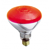 Satco 100 watt BR38 Incandescent; Red; 2000 Average rated hours; Medium base; 230 volts (100BR38/R/230V)
