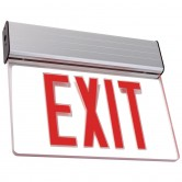 Best Lighting Products LED Single Faced Clear Edge Lit Exit Sign with Red Letters - Battery Backup (ELXTEU1RCAEM)
